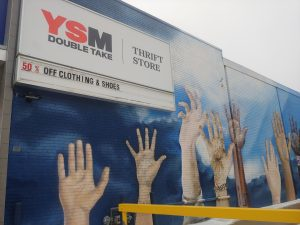 The scene as you first approach Double Take with a beautiful mural of many hands reaching for the sky. The bright colours seemingly cut through the gloomy weather of the Wednesday Feb. 6, 2019 afternoon. Kyle Craib/RSJ