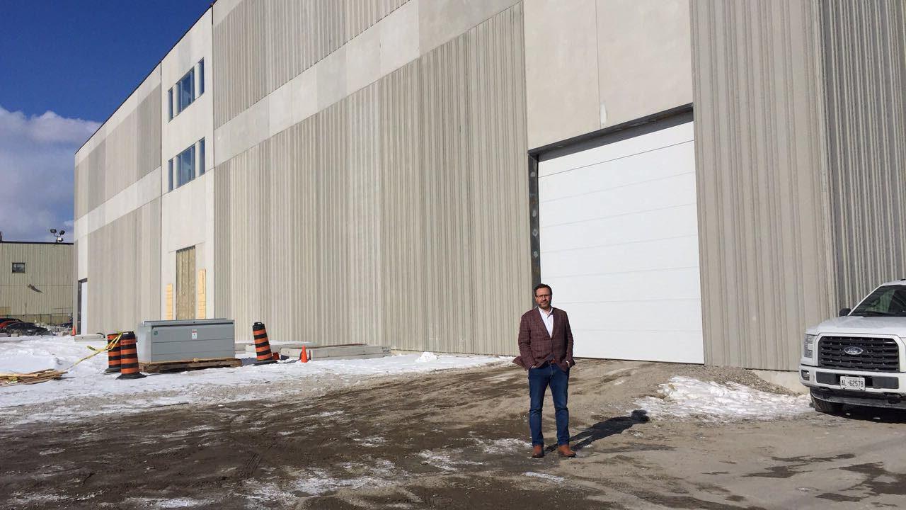 Jim Mirkopoulos in front of the new Titan Studio in Etobicoke