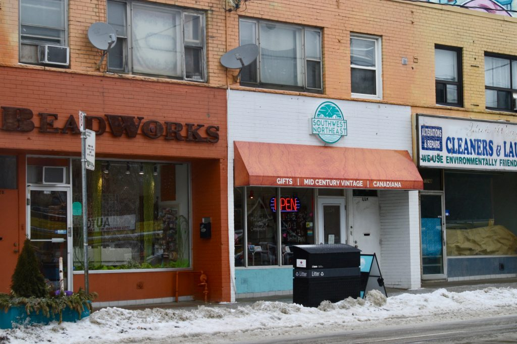 The exterior storefronts of Beadworks and Southwest Northeast.