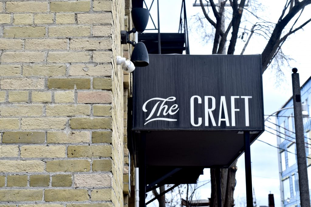 The front sign of local Toronto bar, The Craft.