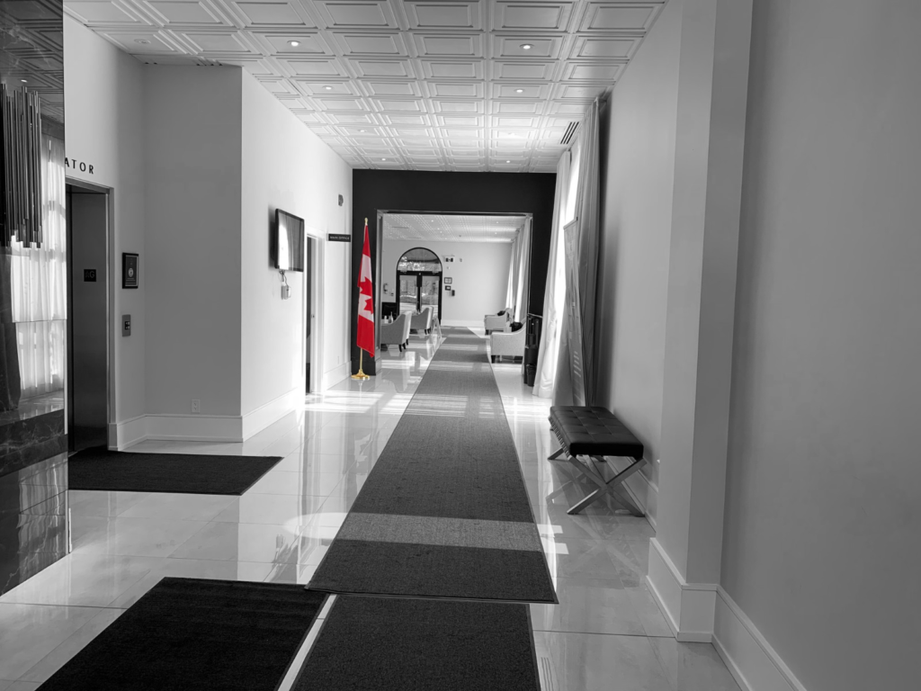 Elevator and hallway in the lobby of the funeral centre