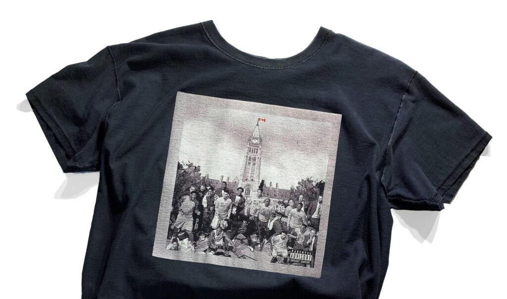 T-shirt design by Daniello Tetangco, parliment building, famous Toronto Raptors championship moment.