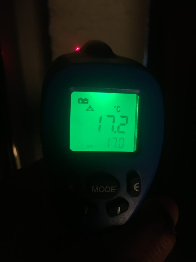Dark background with green backlight from thermometer