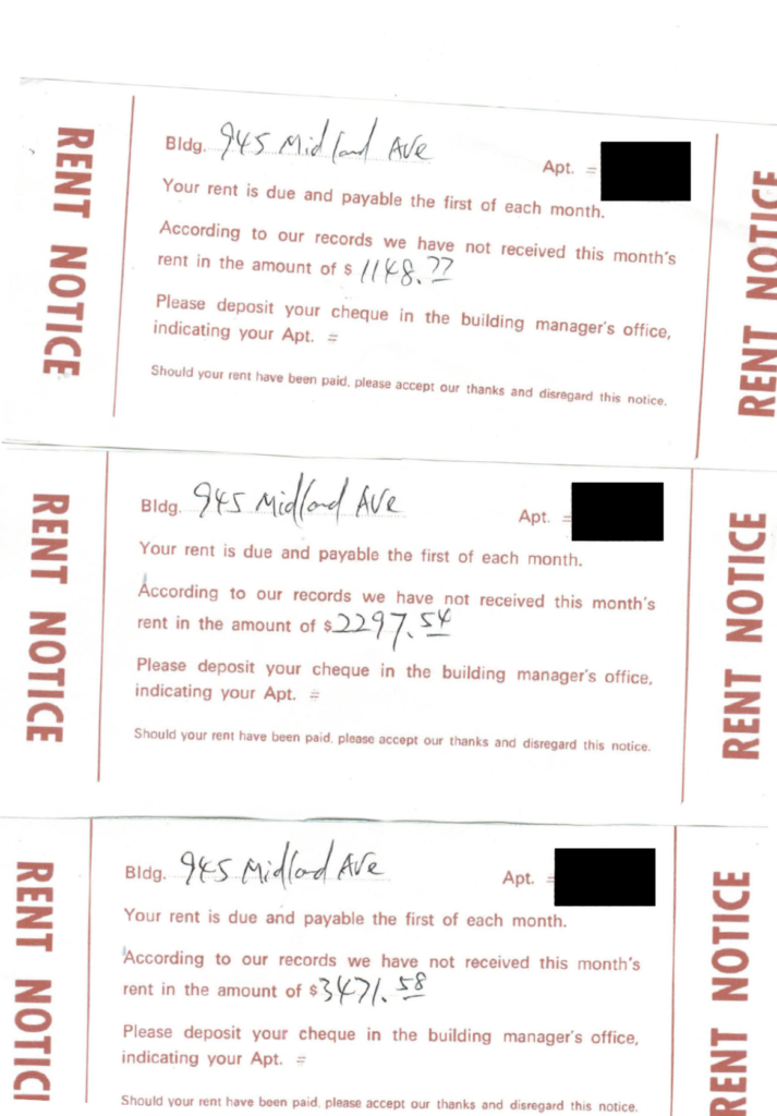 Rent notice written in red print with a white background