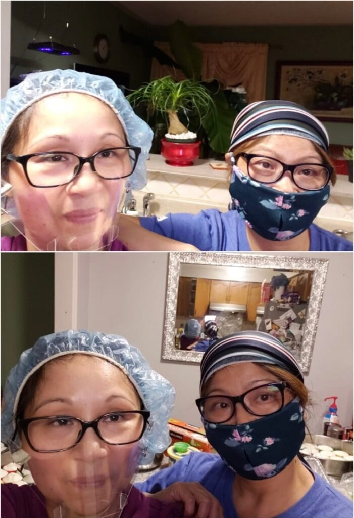 A collage with two photos of two women wearing face shields and masks posing for selfies together.