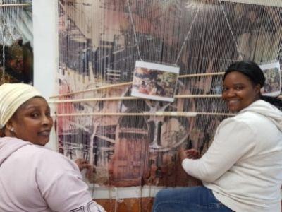 Art students weaving